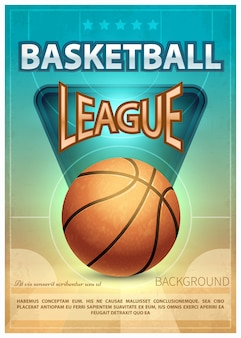 Manifesto di vettore di sport di torneo di basket