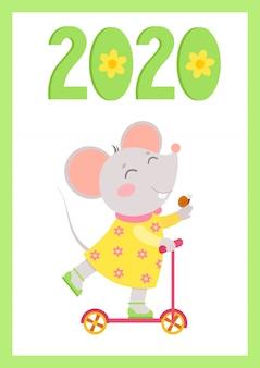 Manifesto di vettore piatto di nuovo anno 2020 con modello di mouse. topolino cavalca uno scooter con la lumaca a portata di mano