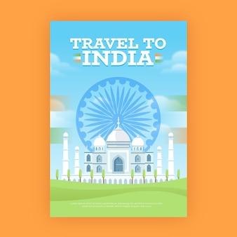 Manifesto di viaggio con taj mahal india