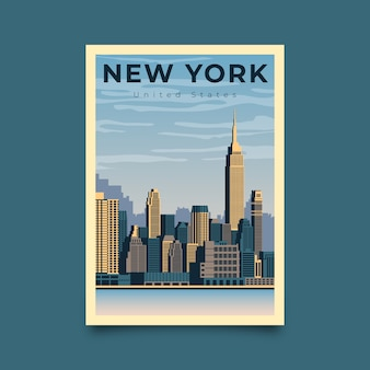 Manifesto di viaggio illustrato new york