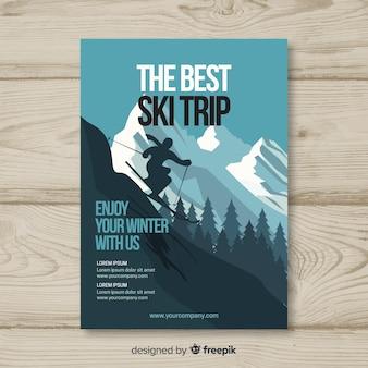 Manifesto di viaggio sciistica sagoma sciatore