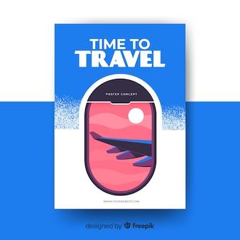 Manifesto di viaggio vintage piatto
