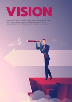 Manifesto di visione dell'uomo d'affari con testo