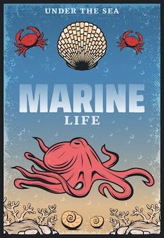 Manifesto di vita di mare colorato vintage con iscrizione polpo granchi conchiglie e alghe