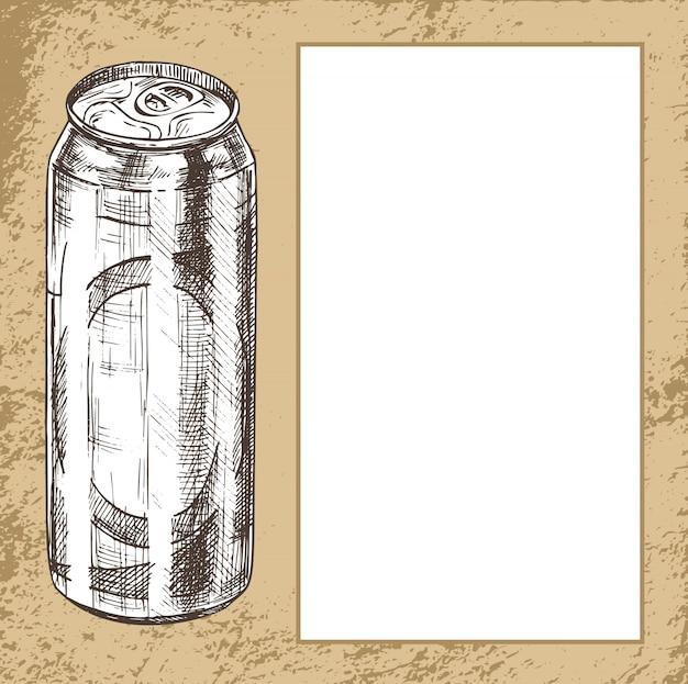 Manifesto disegnato a mano di lattina di metallo di birra con campione di testo