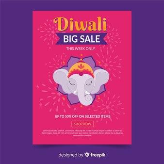 Manifesto disegnato a mano di vendita di diwali modello