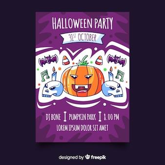 Manifesto disegnato a mano variopinto del partito di halloween