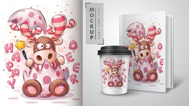 Manifesto e merchandising dei cervi di buon natale