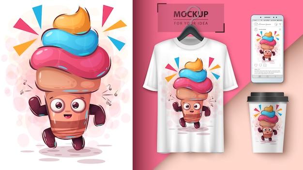 Manifesto e merchandising del gelato da ballo
