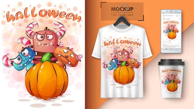 Manifesto e merchandising dell'orrore di halloween