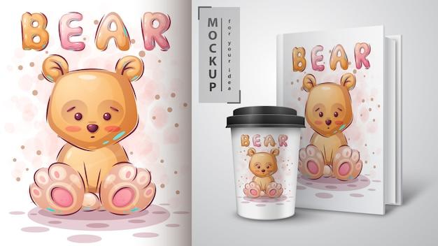 Manifesto e merchandising dell'orso giallo dell'orsacchiotto