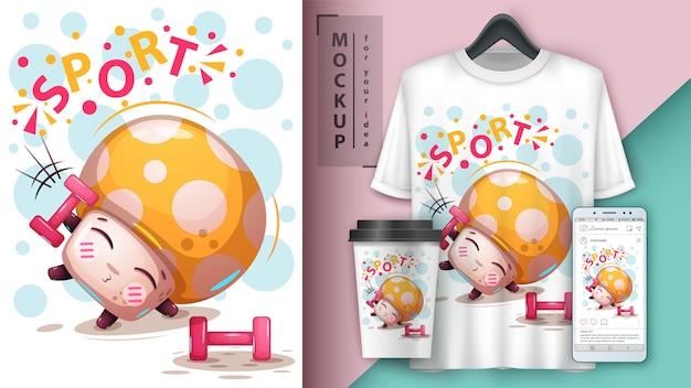 Manifesto e merchandising di funghi sportivi