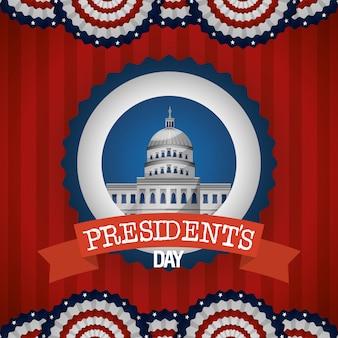 Manifesto felice di giorno di presidenti con la casa bianca