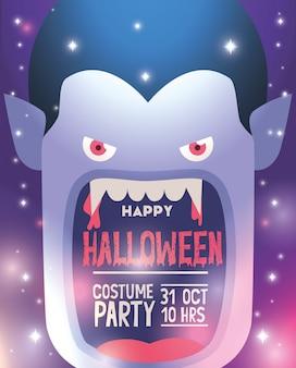 Manifesto felice festa in costume di halloween