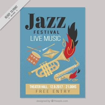 Manifesto festival jazz con gli strumenti musicali