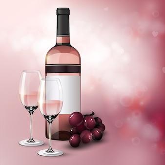Manifesto festivo di saluto realistico con bottiglia di grappolo d'uva e bicchieri pieni di vino rosato