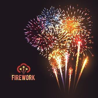 Manifesto festivo sfondo nero di fuochi d'artificio