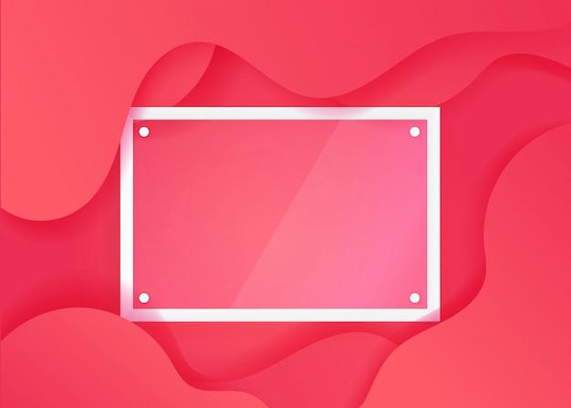 Manifesto fluido creativo con cornice in vetro trasparente