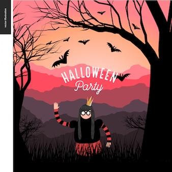 Manifesto illustarted festa di halloween