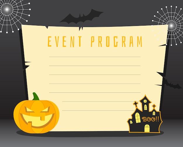 Manifesto in bianco di halloween con il posto per testo. scheda volantino, poster. design scuro con zucca, casa dell'orrore, elementi e simboli di pipistrelli.