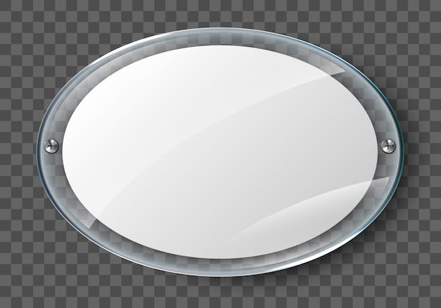 Manifesto in bianco nel telaio di vetro realistico isolato su sfondo trasparente. poster fotografico acrilico da parete trasparente con cornice