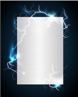 Manifesto in metallo argentato carico con lampi su sfondo blu scuro