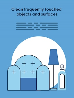 Manifesto informativo con le raccomandazioni covid19 di progettazione dell'illustrazione di vettore di soggiorno a casa