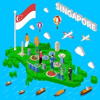 Manifesto isometrico di simboli turistici mappa di singapore