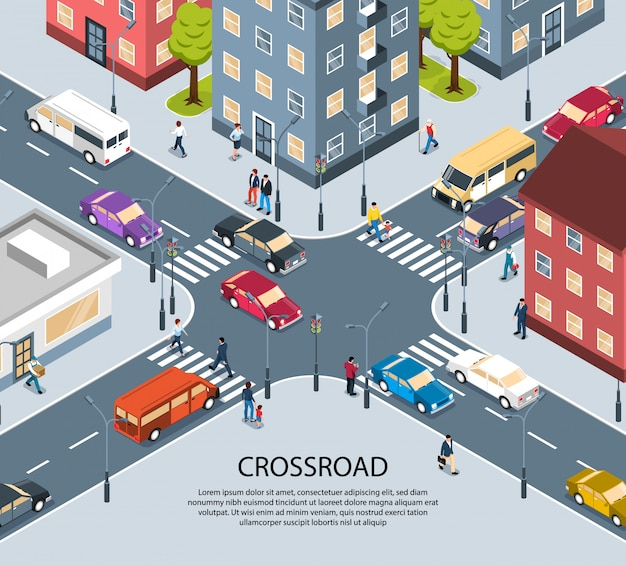 Manifesto isometrico di vista dell'incrocio dell'incrocio a quattro vie della città della città con il passaggio pedonale pedonale dei semafori