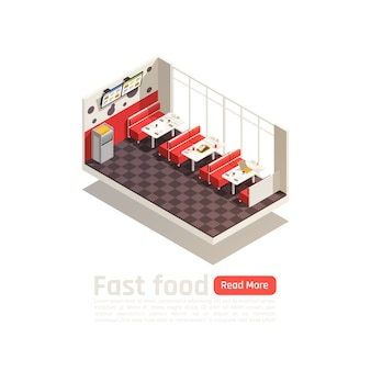 Manifesto isometrico interno fast food accogliente ristorante con tavoli sedie e monitor menu