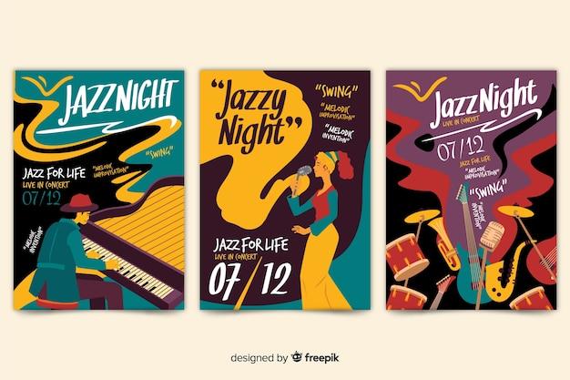 Manifesto jazz disegnato a mano astratto del modello
