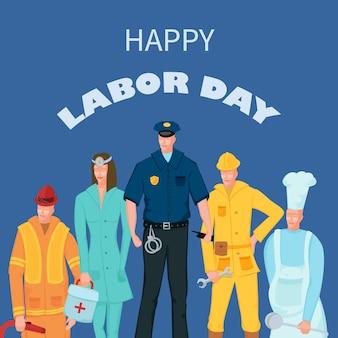 Manifesto labor day con persone di diverse occupazioni su sfondo