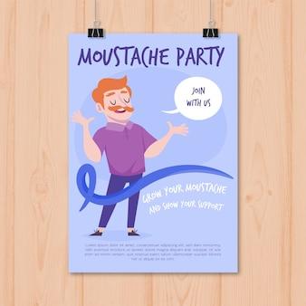 Manifesto moderno del partito di movember con design piatto