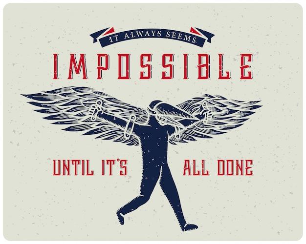 Manifesto motivazionale con l'illustrazione dell'uomo di volo