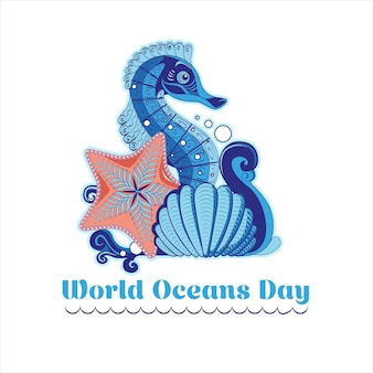 Manifesto nello stile del fatto a mano con un'onda, un cavalluccio marino, una stella marina e una conchiglia per la giornata mondiale dell'oceano