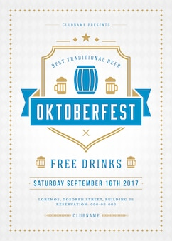 Manifesto o aletta di filatoio di tipografia di celebrazione di festival della birra di oktoberfest