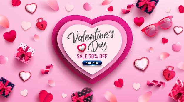 Manifesto o bandiera di vendita di san valentino con regalo dolce, cuore dolce e oggetti adorabili
