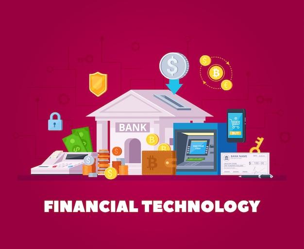 Manifesto ortogonale piano del fondo della composizione in tecnologie elettroniche dell'istituto finanziario con acquisto online dello smartphone di transazioni bancarie