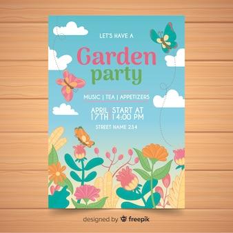 Manifesto partito primavera farfalle disegnate a mano