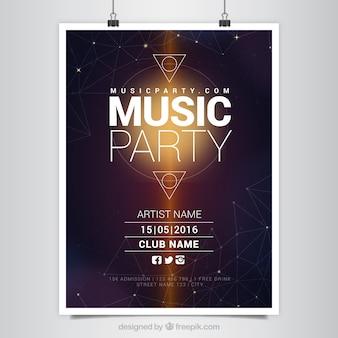 Manifesto party music moderna con forme geometriche