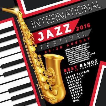 Manifesto per festival jazz con sassofono dorato e tasti per pianoforte