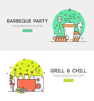 Manifesto piano di annuncio di apertura di stagione di stagione barbecue con accessori barbecue