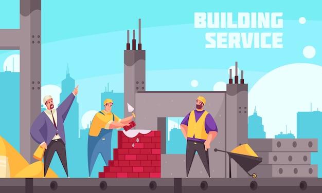Manifesto piano di servizio della costruzione con il tecnico industriale che istruisce gruppo di costruttori che fanno l'illustrazione della muratura