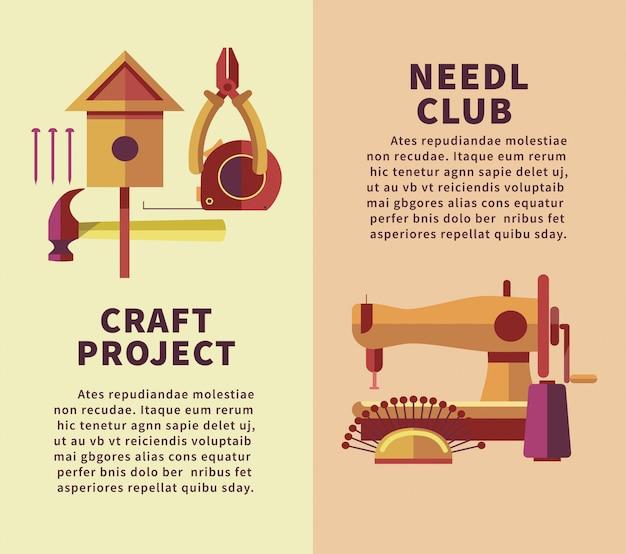 Manifesto piatto di laboratorio di arte e artigianato creativo di strumenti in legno e ricamo