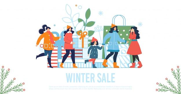 Manifesto piatto di vendita di inverno con donne e bambini felici
