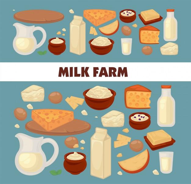 Manifesto promozionale della fattoria del latte con deliziosi prodotti caseari