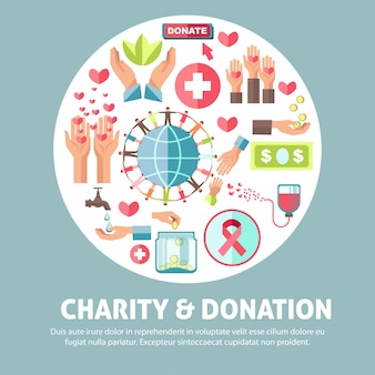 Manifesto promozionale di beneficenza e donazione con illustrazioni simboliche
