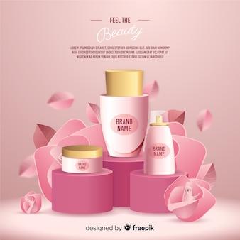 Manifesto pubblicitario cosmetico naturale realistico