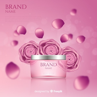 Manifesto pubblicitario cosmetico rosa realistico