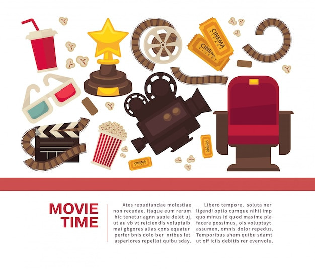Manifesto pubblicitario del cinema con attrezzature cinematografiche simboliche
